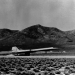 An A-12 Oxcart lands on the runway at Area 51, April 1962