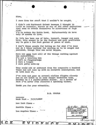 Letter reportedly written to FBI by DB Cooper - release by FOIA request in 2017