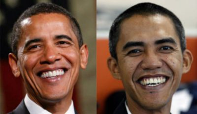 Indonesian man Ilham Anas (right) travels around the world impersonating U.S President Barack Obama
