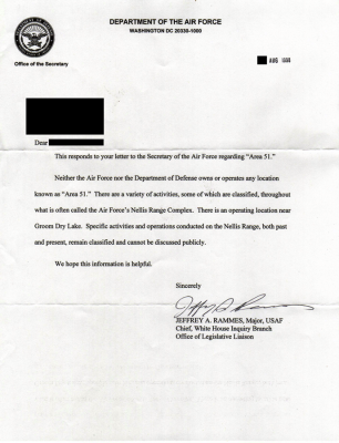 Letter from USAF replying to a query about Area 51