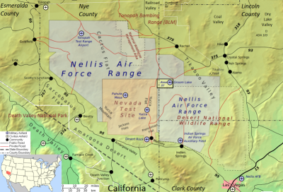 Map showing Area 51, NAFR, and NTS