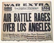 Newspaper headlines Air Battle Rages Over Los Angeles