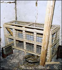 Cage that victims could be kept in