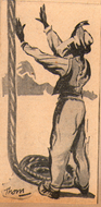 Indian rope trick on cover of magic book