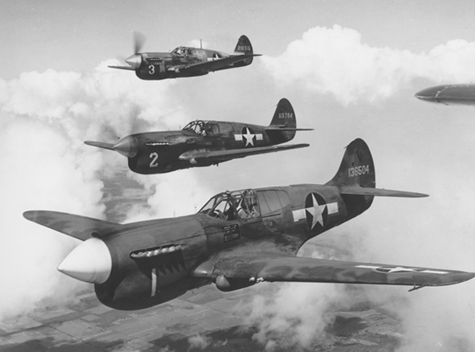 Squadron of P-40 airplanes