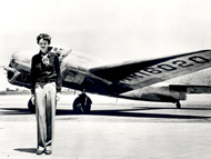 Amelia Earhart and her airplane