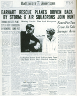Newspaper headlines the day after Earhart's disappearance