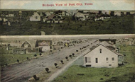 Old Post, Texas postcard shows uniform layout of homes