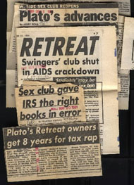 Plato's Retreat newspaper headline - Club shut down due to AIDS threat