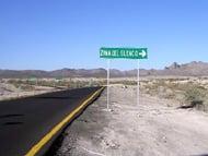 Zona de Silencio road sign