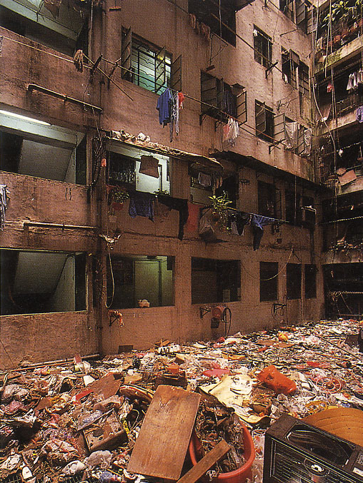 Garbage strewn rooftop in Kowloon Walled City