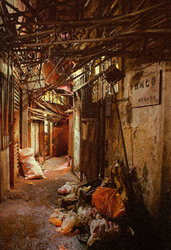 Thick, exposed wiring cover ceiling of Kowloon Walled City alleys