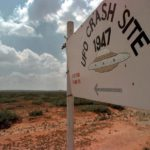 Modern-day sign marking entrance to Roswell crash site