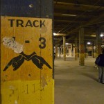 Sign pointing to track 3 in the old LA subway system