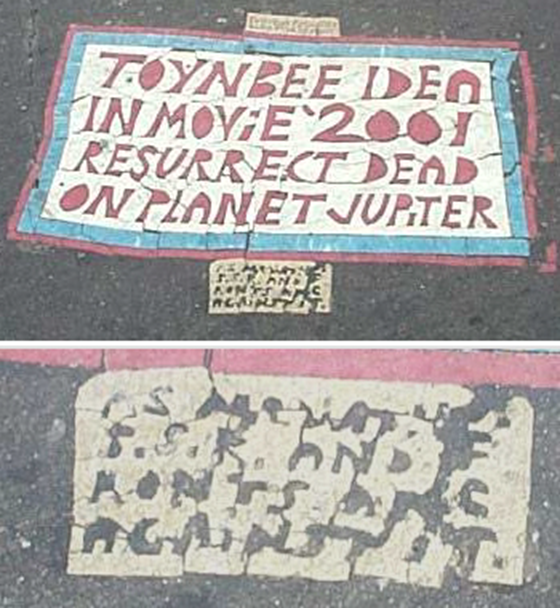 Classic example of a Toynbee tile with bottom section magnified