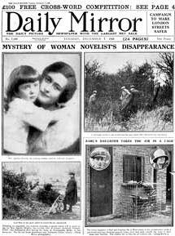 Daily Mirror newspaper headline - Mystery of Woman Novelist's Disappearance (Agatha Christie)