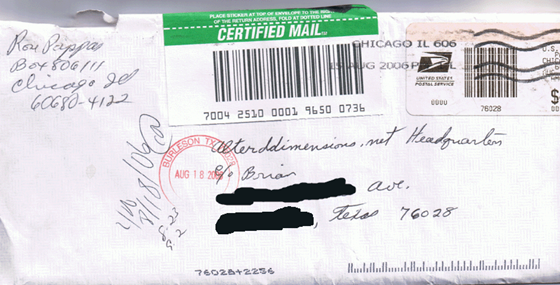 Son of Sam - David Berkowitz - envelope to Altered Dimensions