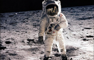 Edgar Mitchell walking on the Moon