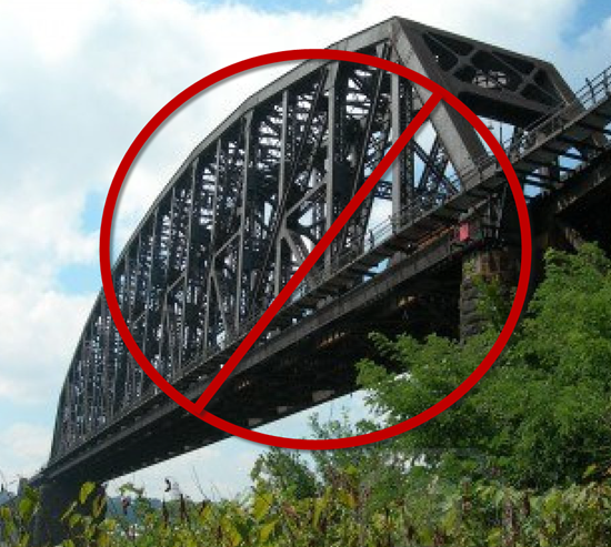 "Bridge with ""no"" symbol over it"
