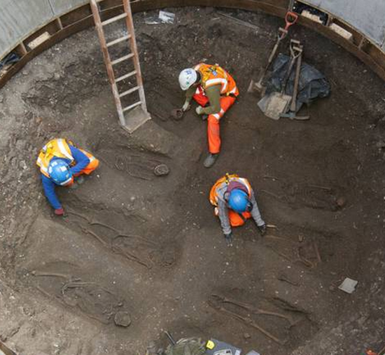 Black Plague (Black Death) bodies discovered beneath the streets of London