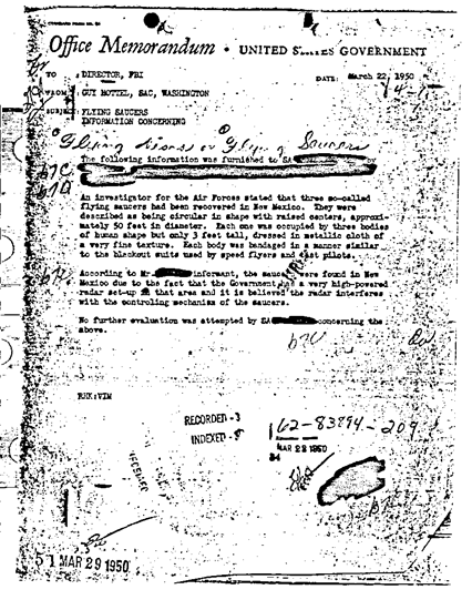 Guy Hottel FBI memo concerning recovery of three UFOs and alien bodies