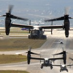 Air Force CV-22 Ospreys take off from a Kirtland Air Force Base