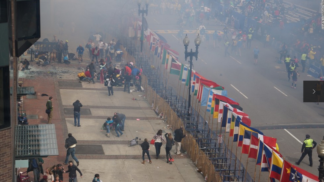 Photo shot from above just moments after the Boston Marathon bombing