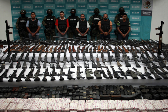 Drugs, money, and weapons from Mexican drug cartels