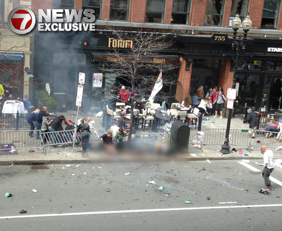 The moment of the Boston Marathon explosion