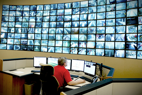Large bank of electronic surveillance security monitors