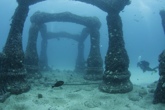 Entrance to Neptune Memorial Reef (Atlantis Memorial Reef) in Florida