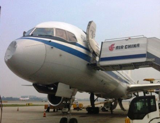 Damage to nose cone of Chinese Boeing 757 after collision