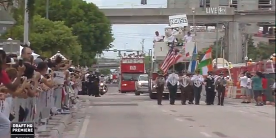 Miami Heat players atop double-decker bus in NBA Championship parade