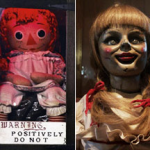 The real possessed Annebelle doll and the doll from the movie The Conjuring