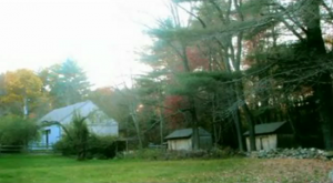 Barns and storehouses behind the Harrisville Perron haunted house