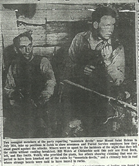 The men take up positions in Ape Canyon cabin demonstrating their positions during the attack