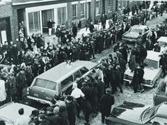Crowds gather as the police investigate the Boston Strangler case