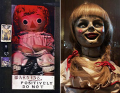 The real Annebelle doll and the one used in The Conjuring