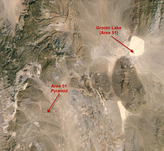 Satellite image of Area 51 (Groom Lake) and the pyramid discovered there