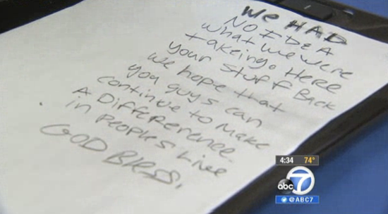 Letter thieves included with returned stolen computer equipment
