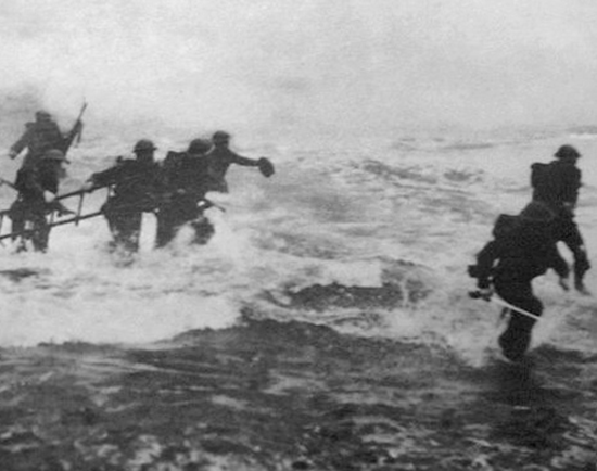 Mad Jack Churchill (John Malcom Thorpe Fleming Churchill) storming the beach with sword in hand