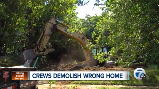 Demolition crews tear down the wrong house