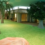 Simulated lawn and trees