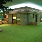 Fake greenery surround the home