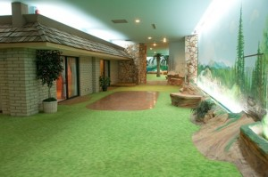 Artificial trees and painted concrete walls simulate the great outdoors in the underground home