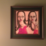 Bizarre two-headed girl painting in Room 322 of Houston's Hotel ZaZa
