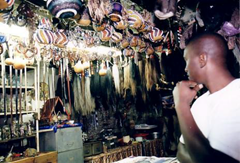 Muti ingrediants hang in an African witchdoctor's shop