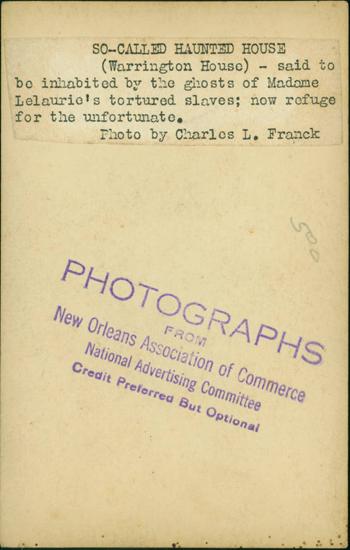 Postcard of Warrington House, New Orleans taken around 1910 - Back