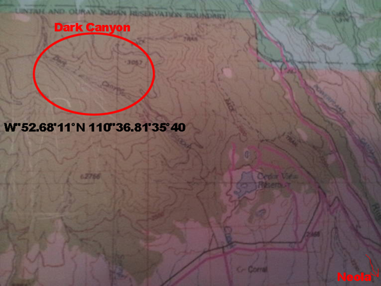 Location of the Dark Canyon, home of the skinwalker creature