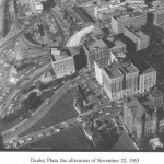 Aerial view of Dealey Plaza shot on 11/22/63